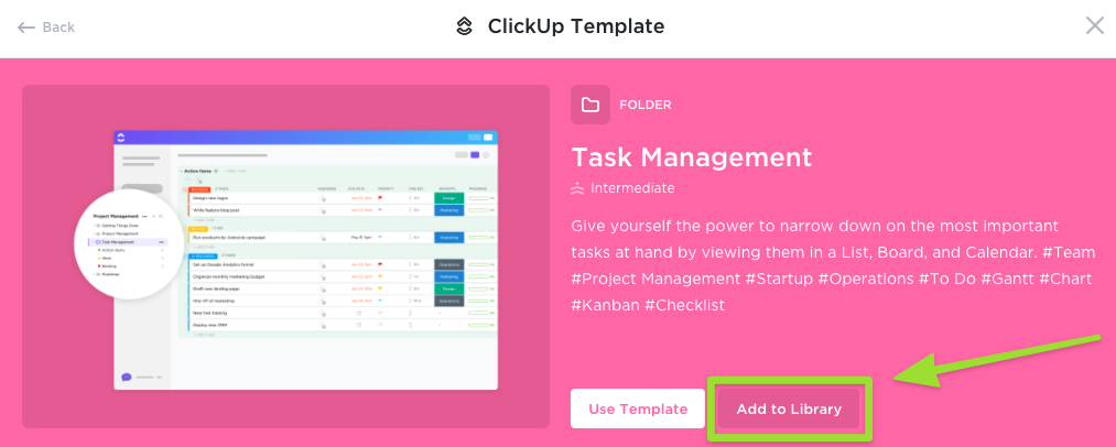 Screenshot of a ClickUp Template, highlighting the option to add to your Workspace library