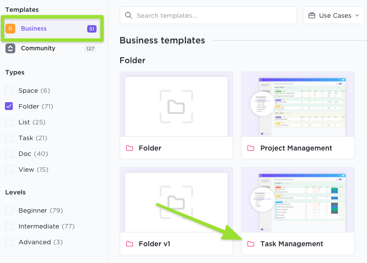 Screenshot of the Template Center highlighting a copy of a ClickUp template available in your Workspace library