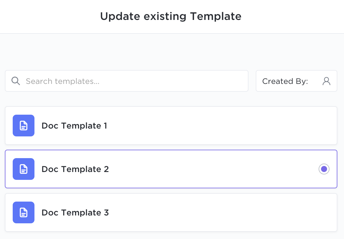 Screenshot of the Update existing Template page