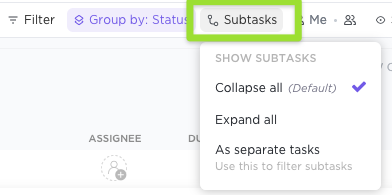 Screenshot of the Subtasks options available in List view