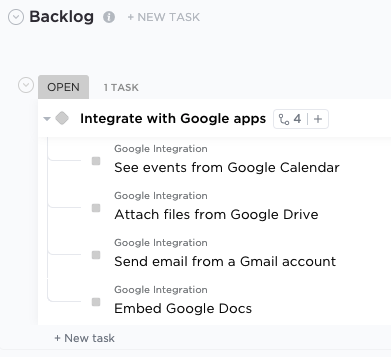 Screenshot of List view showing an Epic parent task with subtasks representing user stories