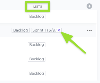 Screenshot of the Lists column, highlighting the option to remove a task from an additional List